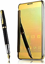 Meimeiwu Mirror Effect Flip Hülle Luxus Electroplate Spiegel Mirror Ultra Dünn Schutzhülle Bumper Case Cover für Samsung Galaxy A8 2016 - Gold