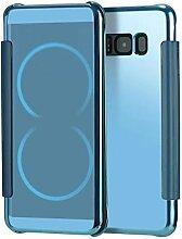 Meimeiwu Mirror Effect Flip Hülle Luxus Electroplate Spiegel Mirror Ultra Dünn Schutzhülle Bumper Case Cover für Samsung Galaxy S8 - Hell Blau