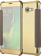 Meimeiwu Mirror Effect Flip Hülle Luxus Electroplate Spiegel Mirror Ultra Dünn Schutzhülle Bumper Case Cover für Samsung Galaxy J5 2017 - Gold