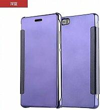 Meimeiwu Mirror Effect Flip Hülle Luxus Electroplate Spiegel Mirror Ultra Dünn Schutzhülle Bumper Case Cover für HuaWei P9 Lite/G9 - Dunkel Blau