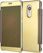 Meimeiwu Mirror Effect Flip Hülle Luxus Electroplate Spiegel Mirror Ultra Dünn Schutzhülle Bumper Case Cover für XiaoMi RedMi Note 4 - Gold