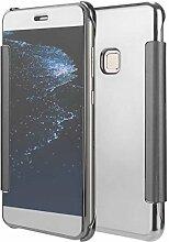 Meimeiwu Mirror Effect Flip Hülle Luxus Electroplate Spiegel Mirror Ultra Dünn Schutzhülle Bumper Case Cover für HuaWei P10 Lite - Silber