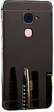 Meimeiwu Mirror Effect Hülle Luxus 2 in 1 Design Spiegel Aluminium Metall Frame Electroplating Bumper PC Rückseite Schutzhülle Rahmenschutz Case Cover für LeEco Le Max 2 - Grau