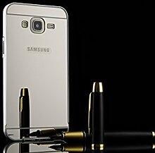Meimeiwu Mirror Effect Hülle Luxus 2 in 1 Design Spiegel Aluminium Metall Frame Electroplating Bumper PC Rückseite Schutzhülle Rahmenschutz Case Cover für Samsung Galaxy J5 - Silber