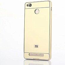 Meimeiwu Mirror Effect Hülle Luxus 2 in 1 Design Spiegel Aluminium Metall Frame Electroplating Bumper PC Rückseite Schutzhülle Rahmenschutz Case Cover für XiaoMi RedMi 3S/3 Pro - Gold