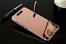 Meimeiwu Mirror Effect Hülle Luxus 2 in 1 Design Spiegel Aluminium Metall Frame Electroplating Bumper PC Rückseite Schutzhülle Rahmenschutz Case Cover für ZTE Blade V8 - Rose Gold