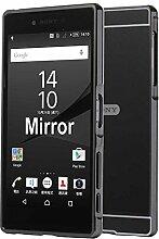 "Meimeiwu Mirror Effect Hülle Luxus 2 in 1 Design Spiegel Aluminium Metall Frame Electroplating Bumper PC Rückseite Schutzhülle Rahmenschutz Case Cover für Sony Xperia C4 5.5"" - Grau"