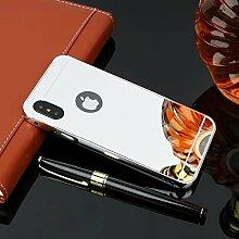 Meimeiwu Mirror Effect Hülle Luxus 2 in 1 Design Spiegel Aluminium Metall Frame Electroplating Bumper PC Rückseite Schutzhülle Rahmenschutz Case Cover für iPhone X - Silber