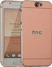 Meimeiwu Mirror Effect Hülle Luxus 2 in 1 Design Spiegel Aluminium Metall Frame Electroplating Bumper PC Rückseite Schutzhülle Rahmenschutz Case Cover für HTC One A9 - Rose Gold