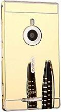 Meimeiwu Mirror Effect Hülle Luxus 2 in 1 Design Spiegel Aluminium Metall Frame Electroplating Bumper PC Rückseite Schutzhülle Rahmenschutz Case Cover für Nokia Lumia 925 - Gold