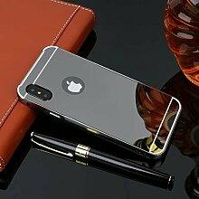 Meimeiwu Mirror Effect Hülle Luxus 2 in 1 Design Spiegel Aluminium Metall Frame Electroplating Bumper PC Rückseite Schutzhülle Rahmenschutz Case Cover für iPhone X - Grau