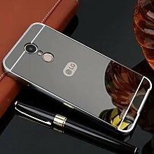 Meimeiwu Mirror Effect Hülle Luxus 2 in 1 Design Spiegel Aluminium Metall Frame Electroplating Bumper PC Rückseite Schutzhülle Rahmenschutz Case Cover für LG Q6 - Grau