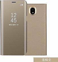Meimeiwu Spiegel Schutzhülle Clear View Protective Flip Hülle Case Cover für Samsung Galaxy J3 2017(European version) - Gold