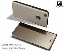 Meimeiwu Spiegel Schutzhülle Clear View Protective Flip Hülle Case Cover für HuaWei P9 Lite 2017 - Gold