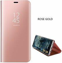 Meimeiwu Spiegel Schutzhülle Clear View Protective Flip Hülle Case Cover für Samsung Galaxy J5 2016/J510 - Rose Gold