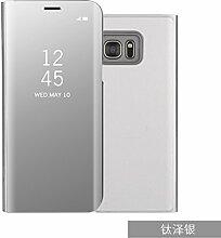 Meimeiwu Spiegel Schutzhülle Clear View Protective Flip Hülle Case Cover für Samsung Galaxy S7 Edge - Silber