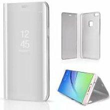 Meimeiwu Spiegel Schutzhülle Clear View Protective Flip Hülle Case Cover für HuaWei P10 Lite - Silber