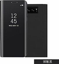 Meimeiwu Spiegel Schutzhülle Clear View Protective Flip Hülle Case Cover für Samsung Galaxy Note 8 - Schwarz
