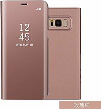 Meimeiwu Spiegel Schutzhülle Clear View Protective Flip Hülle Case Cover für Samsung Galaxy S8 Plus - Rose Gold