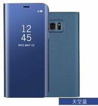 Meimeiwu Spiegel Schutzhülle Clear View Protective Flip Hülle Case Cover für Samsung Galaxy J5 Prime/On 5 2016 - Blau