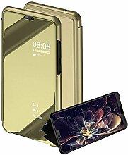 Meimeiwu Spiegel Schutzhülle Clear View Protective Flip Hülle Case Cover für HuaWei Honor 10 - Gold