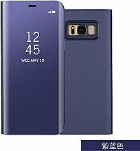 Meimeiwu Spiegel Schutzhülle Clear View Protective Flip Hülle Case Cover für Samsung Galaxy S8 - Lila