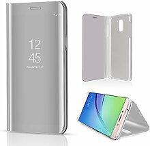Meimeiwu Spiegel Schutzhülle Clear View Protective Flip Hülle Case Cover für Samsung Galaxy C8 - Silber
