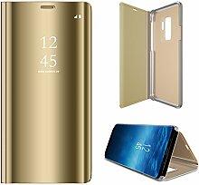 Meimeiwu Spiegel Schutzhülle Clear View Protective Flip Hülle Case Cover für Samsung Galaxy S9 Plus - Gold