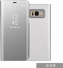 Meimeiwu Spiegel Schutzhülle Clear View Protective Flip Hülle Case Cover für Samsung Galaxy S8 Plus - Silber