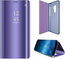 Meimeiwu Spiegel Schutzhülle Clear View Protective Flip Hülle Case Cover für Samsung Galaxy S9 - Lila