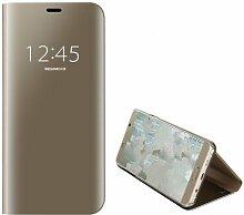 Meimeiwu Spiegel Schutzhülle Clear View Protective Flip Hülle Case Cover für Samsung Galaxy J7 Prime/On 7 2016 - Gold