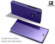 Meimeiwu Spiegel Schutzhülle Clear View Protective Flip Hülle Case Cover für HuaWei P9 Lite 2017 - Lila