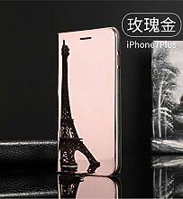 Meimeiwu Spiegel Schutzhülle Clear View Protective Flip Hülle Case Cover für iPhone 6 6S Plus - Rose Gold