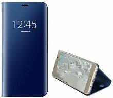 Meimeiwu Spiegel Schutzhülle Clear View Protective Flip Hülle Case Cover für Samsung Galaxy Note 5 - Blau