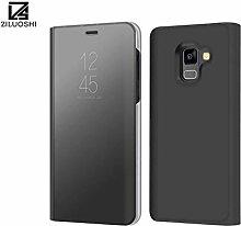 Meimeiwu Spiegel Schutzhülle Clear View Protective Flip Hülle Case Cover für Samsung Galaxy A8 2018 - Schwarz