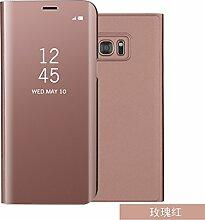Meimeiwu Spiegel Schutzhülle Clear View Protective Flip Hülle Case Cover für Samsung Galaxy S7 - Rose Gold