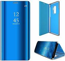Meimeiwu Spiegel Schutzhülle Clear View Protective Flip Hülle Case Cover für Samsung Galaxy S9 Plus - Blau