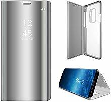 Meimeiwu Spiegel Schutzhülle Clear View Protective Flip Hülle Case Cover für Samsung Galaxy S9 Plus - Silber