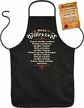 Mein Grillrezept - Zuerst ein Bier trinken - Fleisch marinieren - ein Bier trinken?Spaß-Schürze/Grill/Koch-Schürze+Fun-Urkunde