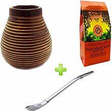 Mein Teeshop Keramik Becher + Bombilla Edelstahl +