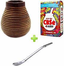 Mein Teeshop Mate Becher Keramik braun + Bombilla Edelstahl + CBSe Energia Guarana 500g
