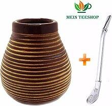 Mein Teeshop Mate Becher Keramik braun + Bombilla