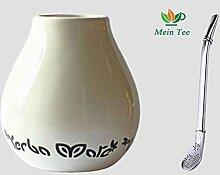 Mein Teeshop Mate Becher Keramik weiß + Bombilla