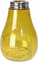 meindekoartikel Vase Glühbirne Glas GELB 9x13