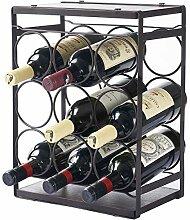MEIQIHOME Holz-Weinregal für 9 Flaschen,