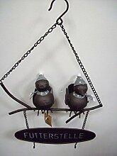 Meisenknödelhalter - Vogelfutterstelle mit 2 Vögeln zum Hängen - schwarz/weiß/grau