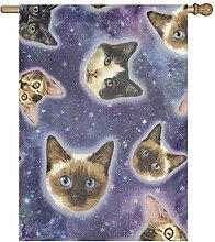 Meishikaeu Garten Flagge Galaxy Cat facejpg Vivid