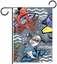 MEITD Fahnenmast für den Garten mit Oktopus und