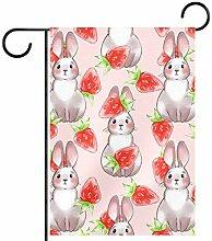 MEITD Fahnenmast mit Erdbeer-Häschen-Motiv, für