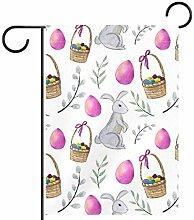 MEITD Fahnenmast mit Kaninchen und bunten Eiern